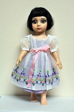Boneka White Embroidered Organdy Tea Dress with Underdressbleuette Patsy 10"