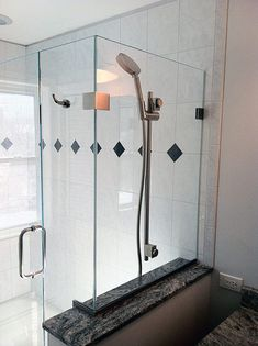 custom glass shower enclosure with shower head on glass panel Upstairs Bathrooms, Laundry In Bathroom, Dream Bathrooms, Small Bathroom, Master Bathroom, Garage Doors For Sale, Glass Garage Door, Bathroom Updates, Bathroom Ideas
