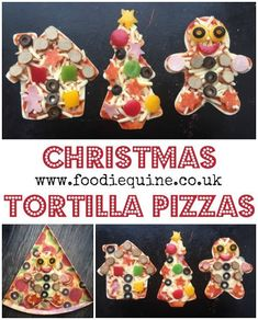 www.foodiequine.co.uk Keep the kids (both big and little) amused making these oh so cute Festive Tortilla Pizzas. Using wraps makes these savoury Christmas snacks super quick to prepare and cook.