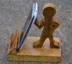 Mobile Phone Smartphone stand made from reclaimed timber by CreativeWoodenGifts on Etsy