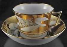 Antique Hand Painted Staffordshire Gold Lily of the Valley Cup and Saucer 1810