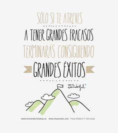 sólo si te atreves a tener grandes fracasos terminarás consiguiendo grandes éxitos. -by Mr. Wonderful