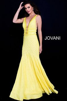 Yellow Plunging Neck Beaded Lace Prom Dress 60191