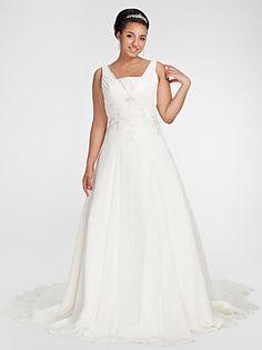 Lanting Bride® A-Linie Extraklein / Übergrößen Hochzeitskleid - Klassisch & Zeitlos Herbst 2014 Kirchen Schleppe Quadratisch Chiffon mit