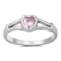 .925 Sterling Silver ring size 5 CZ Kids Heart Pink Midi Knuckle Thumb New b03 #Unbranded