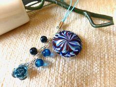 Blue Swirl Polymer Clay Charm