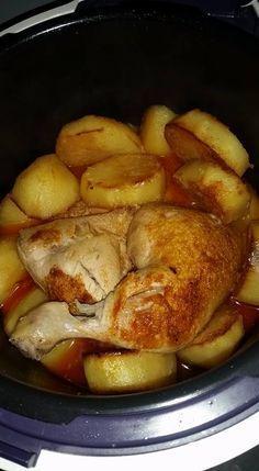 Recette de poulet aux pommes de terres fondantes et sa sauce à ma façon faite au cookeo