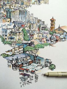 The colors and the lines are so absolutely AMAZING👌perfect! Cityscape Drawing, City Drawing, Painting & Drawing, Art Sketches, Art Drawings, Art Et Architecture, Illustrations, Illustration Art, Watercolor Sketch