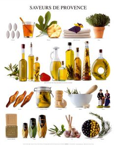 """Saveurs De Provence"" #Provence #France #Europe #culture #travel #poster #food #wine #oil"