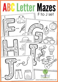 Letter mazes for letters f through j - free printable from Homeschool Creations