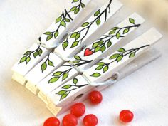 LOVE BRANCH hand painted clothespin magnet by SugarAndPaint, $10.00