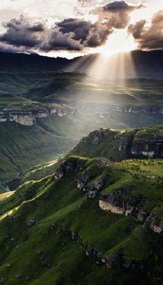 Drakensberge in Lesotho, toll via Pferd zu erkunden