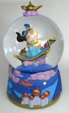 Aladdin and Jasmine on magic carpet musical snowglobe