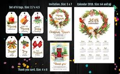 Christmas printable set, Christmas tags, Christmas dinner invitation, Christmas thank you cards, Christmas packaging, 2018 calendar by PrintablesForEvents on Etsy