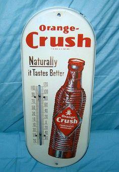 "Orange Crush Vintage Thermometer (Old 1940 Antique Soda Pop Beverage Advertising Metal Store Sign, ""Naturally it Tastes Better"") Vintage Signs, Vintage Ads, Vintage Tools, Vintage Stuff, Vintage Metal, Industrial Interiors, Industrial Office, Industrial Lighting, Modern Industrial"