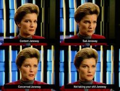 Captain Kathryn Janeway of the starship Voyager is a woman of many emotions. | 46 Times Captain Janeway Was So Sassy It Hurt