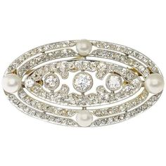 Preowned Belle Epoque Pearl Diamond Gold Platinum Brooch (€7.455) ❤ liked on Polyvore featuring jewelry, brooches, multiple, gold pearl jewelry, pearl jewellery, diamond brooch, pearl brooch and preowned jewelry