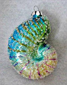 Nautilus-Shell-Tropical-Colorful-Glass-Christmas-Ornament- $9.00
