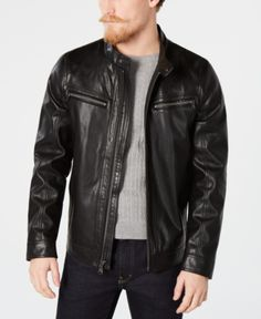 Men's Leather Jackets: How To Choose The One For You. A leather coat is a must for each guy's closet and is likewise an excellent method to express his individual design. Leather jackets never head out of styl Best Leather Jackets, Leather Jackets Online, Black Faux Leather Jacket, Leather Men, Leather Fashion, Men's Fashion, Fashion Trends, Calvin Klein Men, Clothing Ideas