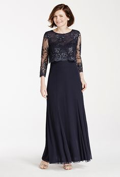 Brides.com: . Style 56898D, beaded lace jersey gown, $199, David's Bridal