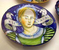 Faenza portrait plate, 'Lucrecia Bella', Italian Maiolica