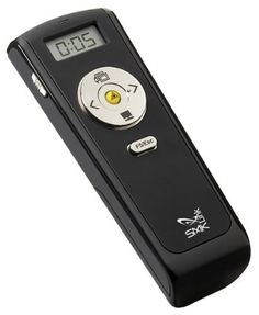 Wireless Stopwatch Presenter with Laser Pointer by SMK-Link. $65.73. A proven presentation remote control, the Wireless Stopwatch Presenter with Laser Pointer changes your slides, focuses attention with a bright red laser pointer, and even times your presentations. The Stopwatch Presenter has an unrestricted wireless range of up to 70 feet.  A proven presentation remote control, the Wireless Stopwatch Presenter With Laser Pointer is a simple yet powerful PowerPoint remo...