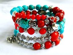 bohemian turquoise and red coral memory wire bracelet - 2014 Custom Cuff Bracelets