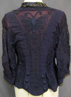 1900's Edwardian Purple Butterfly Soutache Lace Jacket