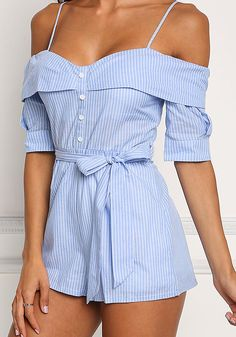 Blue Pinstripe Cold Shoulder Romper - New Komplette Outfits, Junior Outfits, Casual Outfits, Fashion Outfits, Womens Fashion, Ladies Fashion, Fashion Trends, Cute Summer Outfits, Holiday Outfits