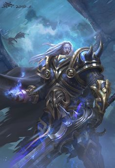 The amazing digital art of Zheng Wan Cg Characters: From Sketch to Finish Dnd Characters, Fantasy Characters, World Of Warcraft Wallpaper, Arthas Menethil, Art Warcraft, Lich King, Death Knight, Medieval, Wow Art