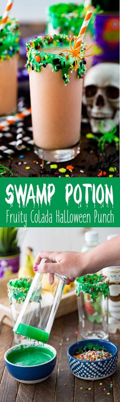 Swamp Potion Halloween Punch is a fruity colada punch that is festive and fun for the whole family! #ad #CascadeIce