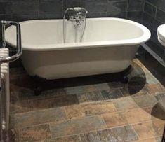 Wood Effect Tiles, Clawfoot Bathtub, Rustic Wood, Bathroom, Washroom, Bathrooms, Bath, Bathing, Bath Tub