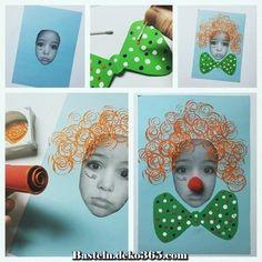 "Bastelbild ""Ich als Clown"" – Herz Crafts stellt mich als Clown vor Toddler Art, Toddler Crafts, Diy Crafts For Kids, Clown Crafts, Carnival Crafts, Clown Halloween, Halloween Clipart, Circus Party Favors, Circus Theme"