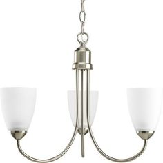 For above the stairs?    Progress Lighting - Gather Collection Brushed Nickel 3-light Chandelier - 785247166831 - Home Depot Canada