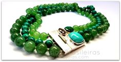 Colar em prata 950, quartzo-verde, amazonita, berilo, crisocola e turquesa ( 950 silver necklace with green quartz, amazonite, beryl,crisocole and tourquoise)