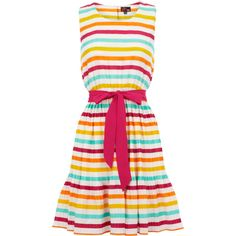 OASIS Stripe Sun Dress (£26) ❤ liked on Polyvore featuring dresses, vestidos, tops, stripes, no sleeve dress, sundress dresses, oasis dresses, striped sundress and pink striped dress