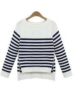 White Long Sleeve Striped Split Sweater - abaday.com