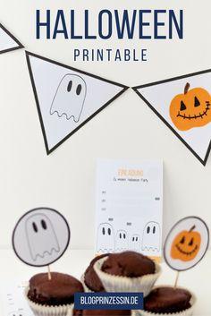 Halloween Einladungen, Muffintopper und andere Deko einfach ausdrucken. Halloween Deko kann man ganz einfach selber machen. http://blogprinzessin.de/2016/08/28/halloween-deko-selber-machen/
