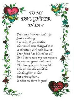 Daughter In Law Quotes Gifts Wishes For