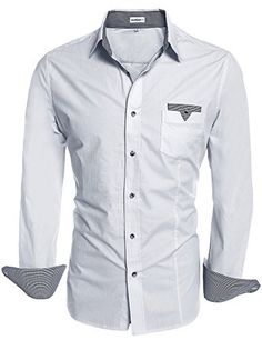 HOTOUCH Men Casual Botton Down Shirt Slim Fit Dress Shirts White XL Cotton Spandex Patchwork on collar and cuff One pocket on chest Mens fashion designer oxford dress shirt Please check our SIZE CHART before your order Button Down Shirt Dress, Slim Fit Dress Shirts, Casual Button Down Shirts, Casual Fashion Trends, Cool Hoodies, Urban Fashion, Mens Fashion, Long Sleeve Shirts, Men Casual