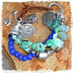 Cobalt Blue Bold Bracelet  Ethnic Chunky by rocksandpaperswans
