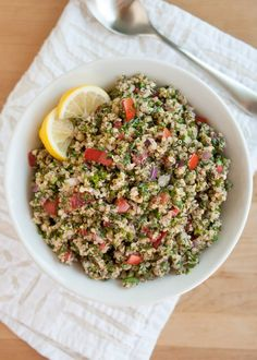 In this riff on traditional tabbouleh, the bulgur gets replaced with tender, nutty quinoa. It's a make-ahead salad, perfect for summer barbecues.
