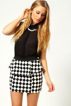 Alice Harlequin Peplum Skirt - £15.00 Boohoo