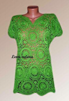 Tunic Green apple with graph. | Irish crochet