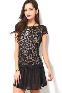 Drop Waist Lace Dress in Black
