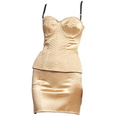 Dolce & Gabbana Corset - 1990 Two Piece Stretch Satin Bustier Top Skirt Satin