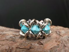 Turquoise Ring Swaroyski and Czech crystal rings by fundademircan, $18.00