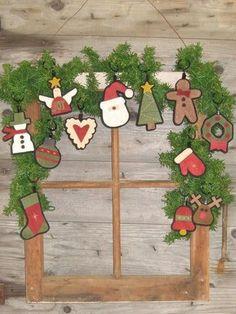 "Primitive Wool Applique PATTERN ""Christmas Ornies"" WSD173"