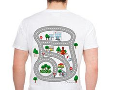 Father's Day or Christmas Gift - Car and Road Daddy Play Shirt for Dads - Dad relaxes while kids drive cars on his playmat shirt
