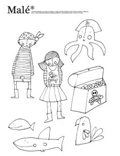 Printable pirate puppets coloring page {say that 3 times.lol}
